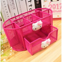 可爱多功能金属网格大笔筒韩国创意组合办公文具收纳盒 玫红色九格如图