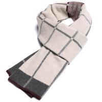 男士含羊毛线围巾男冬季韩版百搭简约仿羊绒围脖年轻人礼盒装