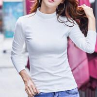 秋冬季半高领长袖T恤女加绒修身百搭上衣显瘦韩版打底衫女装体恤