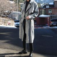 男士风衣2018新款中长款秋季韩版学生修身帅气潮流薄款格子外套男