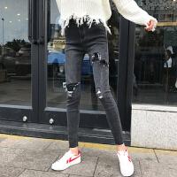 韩国秋冬新款bf风不规则撕破紧身小脚铅笔裤高腰显瘦弹力牛仔裤女