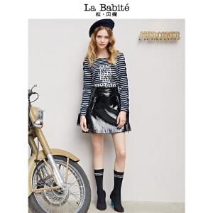 【一口价139元】优雅气质淑女2018年拉贝缇新款知性条纹混色内搭卫衣女款