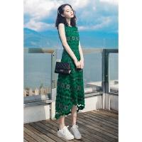 翡翠绿 新款蕾丝花朵镂空无袖波西米亚连衣裙 绿色