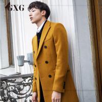 GXG毛呢大衣男装 冬季男士修身潮流都市时尚中长款羊毛大衣外套