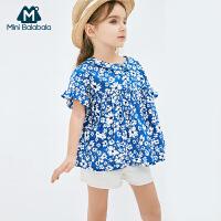 【每满299元减100元】迷你巴拉巴拉女童短袖衬衫2019夏新品宝宝纯棉童装宽松印花娃娃衫