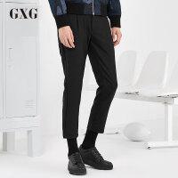 GXG休闲裤男 秋季男士青年气质都市潮流时尚修身黑色斯文九分裤