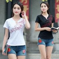 中国风女装短袖绣花上衣夏装新款民族风女装女修身盘扣打底衫