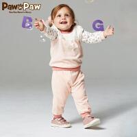 【3件2折 到手价:140】Pawinpaw宝英宝卡通小熊童装冬季款男女宝宝套装婴幼儿两件套卫衣