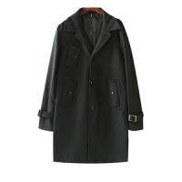 男装外套冬季韩版帅气百搭 纯色西装领毛呢大衣男