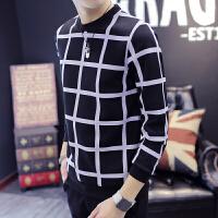 慈姑秋冬季上衣服男装加绒加厚圆领韩版长袖T恤套头卫衣条纹潮