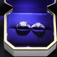 奢遇纯银情侣戒指一对求婚男女仿真钻石对戒学生简约日韩单身尾戒