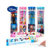 迪士尼铅笔儿童30支无毒HB文具用品圆角娇字考试卡通可爱2比写字小学生铅笔带橡皮头幼儿园学习工具批发套装