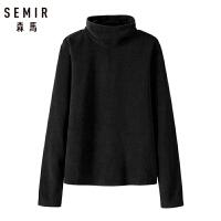 森马长袖T恤女2018冬季新款针织打底衫简约纯色保暖高领上衣潮流