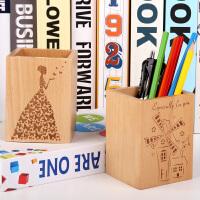榉木实木桌面收纳盒木质笔筒 创意时尚办公笔筒
