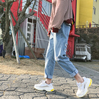 破洞牛仔裤男2018夏季九分裤修身小脚韩版文艺水洗时尚多口袋裤子