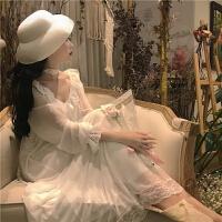 复古韩国chic风蕾丝家居服宫廷睡裙女夏季新款纯色花边雪纺连衣裙 白色 均码