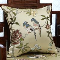 中式花鸟红木沙发垫坐垫靠垫实木家具罗汉床餐椅垫海绵坐垫套
