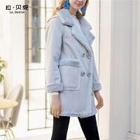 毛呢外套女装新款加厚中长款仿羊羔绒加绒皮毛一体大衣