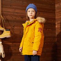 【2件3折:275】巴拉巴拉旗下巴帝巴帝19年冬中大童儿童连帽羽绒服男童加厚保暖中长款