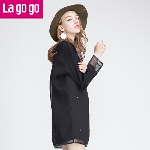 lagogo拉谷谷新款网纱钉珠长袖连衣裙两件套女套装裙宽松显瘦短裙
