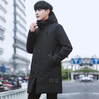 2018冬季新款男士中长款羽绒服韩版青年潮流刺绣加厚连帽外套男装