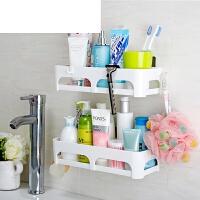 卫生间用品收纳架洗手间洗漱台吸盘浴室置物架厕所免打孔墙上壁挂 低围栏款 两层