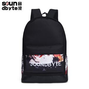 soundbyte双肩包男学院风学生书包女印花帆布电脑背包