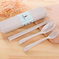 旅行餐具套装小麦秸秆餐具套装 便携餐具筷勺叉三件套