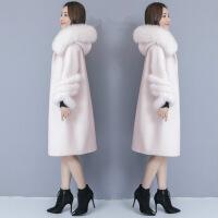 羊剪绒大衣女 中长款皮毛一体修身冬装女2018新款加厚保暖颗粒衣长款皮草外套