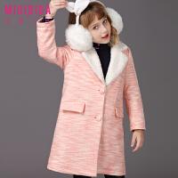 米奇丁当女童长款外套新品冬装儿童休闲保暖长款洋气呢子大衣