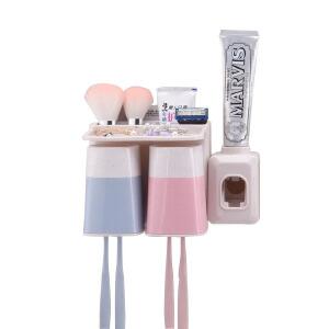 吸盘牙刷架 自动挤牙膏器漱口杯套装牙刷牙杯架卫生间浴室置物架洗漱用品皂盒牙刷架
