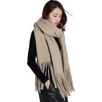 天围巾女加厚保暖学生针织长款毛线披巾仿羊绒流苏两用披肩