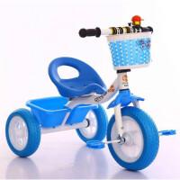 儿童脚踏三轮车1-3岁乐宝宝骑行玩具婴儿手推车小孩滑行自行车 蓝色 蓝色车加筐