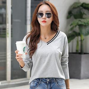 秋季韩版V领白色长袖t恤女装简约打底衫修身体恤百搭棉质上衣