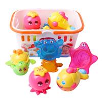 宝宝洗澡沐浴戏水玩具套装喷水蓝装叠叠乐婴儿夏天玩具
