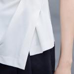 女装2018春夏新款简约圆领修身上衣女无袖褶皱白衬衫