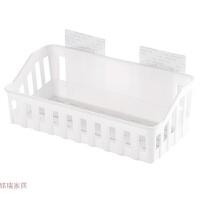 浴室置物架免打孔卫生间用品厕所塑料壁挂架子收纳筐洗漱架浴室架 白色 (收纳框)