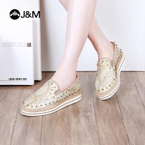 jm快乐玛丽2018春季新款平底松糕铆钉休闲女鞋乐福鞋松糕鞋51222W