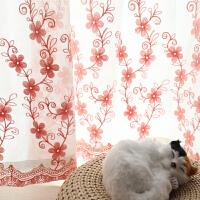 田园飘窗窗帘成品白纱窗帘纱帘窗纱布料白色绣花卧室阳台