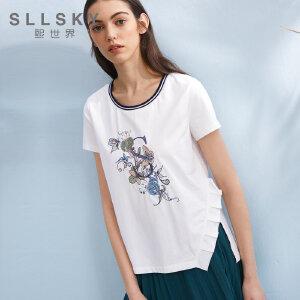 熙世界2018夏季新款不规则拼接短袖t恤女印花白色上衣女112ST111