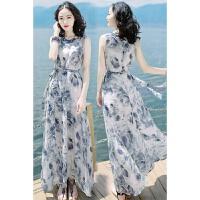 新品夏季女装裙子修身显瘦无袖雪纺连衣裙波西米亚长裙海边度假沙滩裙 图片色