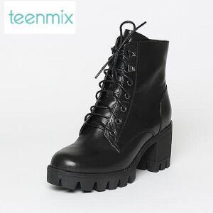 Teenmix/天美意专柜同款牛皮女短靴6E845DD6