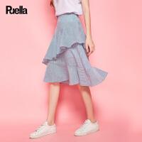 荷叶边半身裙女2018春夏季新款韩版不规则一步包臀鱼尾裙中长款20010201