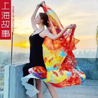 上海故事梵高油画围巾女春秋季韩版百搭桑蚕丝人字纹丝巾女披肩两用多功能
