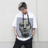 头嘻哈连帽短袖T恤男士潮流人物印花半袖上衣服潮