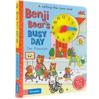 英文原版 时钟书 学习时间管理 Benji Bear's Busy Day 班吉小熊忙碌的一天 纸板书 英语绘本入门启