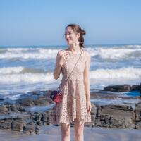 2018夏季新款女装修身显瘦无袖露肩性感吊带小礼服蕾丝连衣裙裙子 藕色