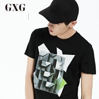 GXGT恤男装 夏季男士时尚都市气质潮休闲修身黑色舒适圆领短袖T恤