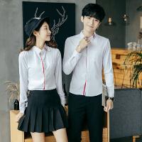 新款秋季长袖衬衫情侣装修身韩版潮流个性班服寸衫时尚休闲衬衣女
