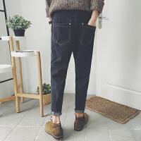 新款秋季韩版青年复古纯色牛仔裤男士哈伦小脚裤日系直筒长裤